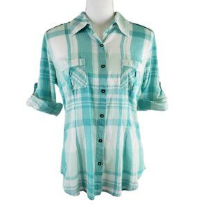 NATURAL REFLECTIONS Cotton Plaid Blouse Size Med